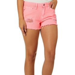 YMI Juniors WannaBettaButt Destructed Neon Denim Shorts