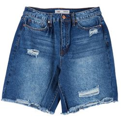 Royalty by YMI Womens High Rise Ripped Denim Shorts