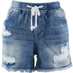 YMI Juniors Frayed Hem Jogger Denim Shorts