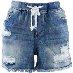 Juniors Frayed Hem Jogger Denim Shorts