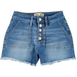 Juniors Frayed Hem Button Fly Denim Shorts