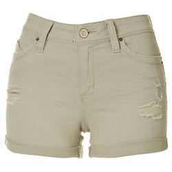 Juniors Curvy Fit Cuffed Denim Shorts