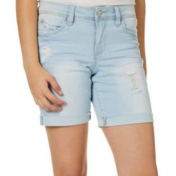 YMI Juniors WannaBettaButt Roll Cuff Destructed Denim Shorts