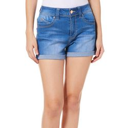 YMI Juniors WannaBettaButt High Rise Roll Cuff Denim Shorts