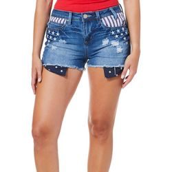YMI Juniors High Rise Stars And Stripes Denim Shor