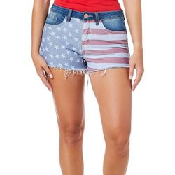 YMI Juniors High Rise Stars And Stripes Frayed Hem