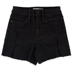 YMI Juniors High Rise Frayed Hem Denim Shorts