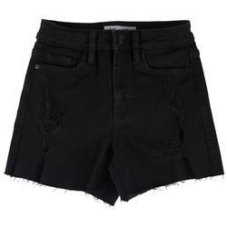 Juniors High Rise Frayed Hem Denim Shorts