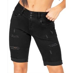 Juniors WannaBettaButt Triple Button Bermuda Shorts