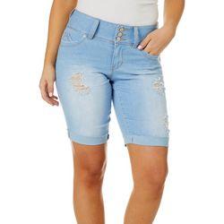 Juniors Triple Button Roll Cuff Denim Shorts