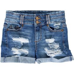 Blue Spice Juniors Deconstructed Denim Shorts