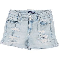 Blue Spice Juniors Deconstructed Denim Shorts