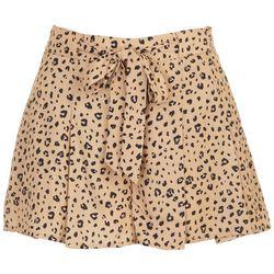 ILLA ILLA Juniors Pleated Animal Print Zip Up Shorts