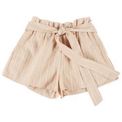 Juniors Striped Paperbag Shorts