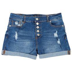 Love Tree Juniors 5-Button Cuffed Denim Shorts