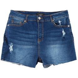 Juniors High Rise Destructed Cut Shorts