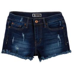 Soundgirl Juniors Frayed Hem High Rise Denim Shorts