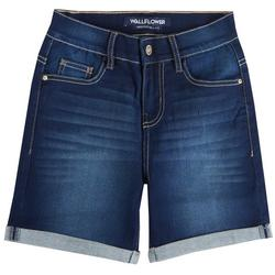 Juniors Roll Cuff Single Button Closure Shorts