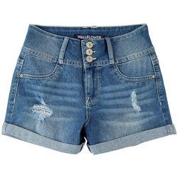 Wallflower Juniors Roll Cuff 3 Button Denim Shorts