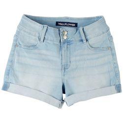 Wallflower Juniors Roll Cuff 2 Button Denim Shorts