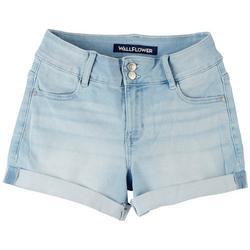 Juniors Roll Cuff 2 Button Denim Shorts