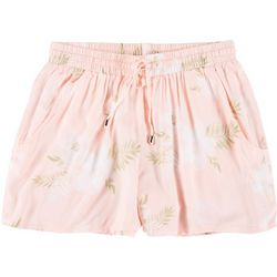 Derek Heart Juniors Tropical Elastic Fabric Shorts