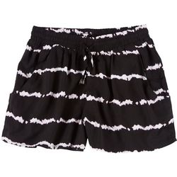Juniors Tie Dye Elastic Fabric Shorts