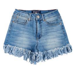 Juniors High Rise Frayed Denim Shorts