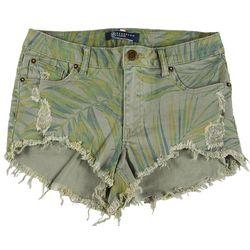 Boom Boom Juniors Leafy Printed Denim Shorts
