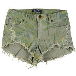 Juniors Leafy Printed Denim Shorts