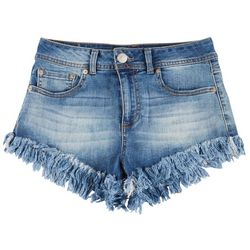 Boom Boom Juniors High Rise Frayed Shorts