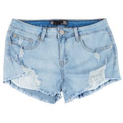 Juniors Frayed Hem Curved Shorts