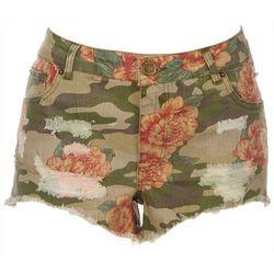 BOOM BOOM Juniors Camo Floral Denim Shorts