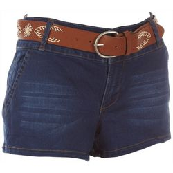 BOOM BOOM Juniors Embroidered Belt Denim Shorts
