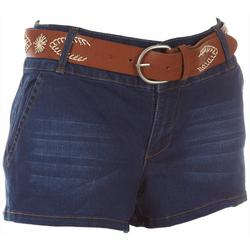 Juniors Embroidered Belt Denim Shorts