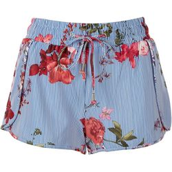 BOOM BOOM Juniors Flowers and Stripes Shorts