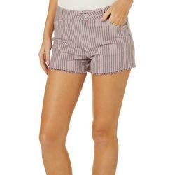 Jolt Juniors Striped Frayed Hem Shorts