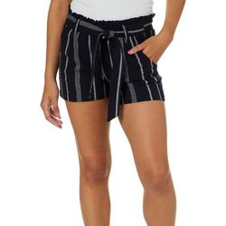 Jolt Juniors Striped Paperbag Waist Shorts