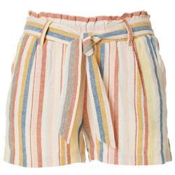 Juniors Paperbag Stripe Linen Shorts