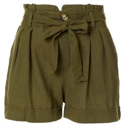 Juniors Paperbag Waist Rolled Cuff Shorts