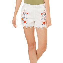 Jolt Juniors Embroidered Floral Pull On Shorts