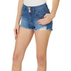 RAW 7 Juniors Deconstructed 3-Button Denim Shorts