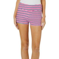 Hot Kiss Juniors Horizontal Striped Pull On Shorts