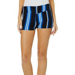Hot Kiss Juniors Vertical Striped Pull On Shorts