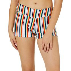 Hot Kiss Juniors Rainbow Striped Pull On Shorts