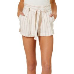 Hot Kiss Juniors Belted Vertical Stripe Woven Soft Shorts
