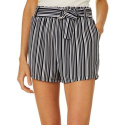 Hot Kiss Juniors Belted Stripe Woven Soft Shorts