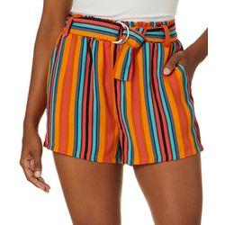 Hot Kiss Juniors Belted Stripe Woven Shorts