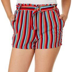 Hot Kiss Juniors Belted Vertical Stripe Shorts
