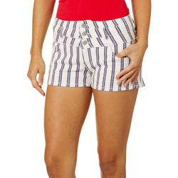 Hot Kiss Juniors Striped Stacked High Waist Shorts